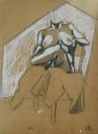 "studio ""figura seduta"", crayons su carta da spolvero, 1995"